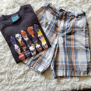 🌹4/$15 Skull tee and shorts bundle size 6